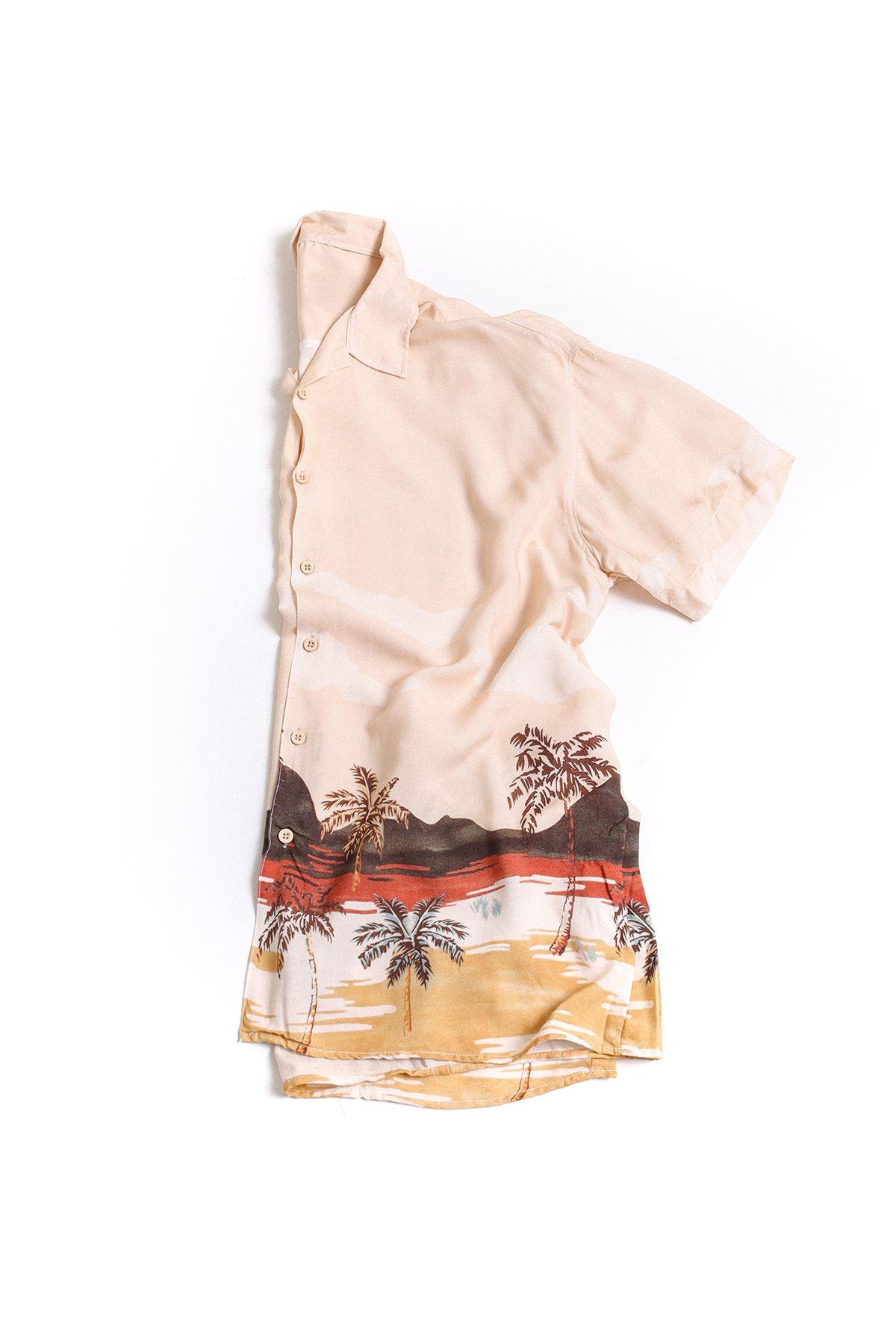 Pembe Bej Palmiye Desenli Transfer Baskılı Gömlek