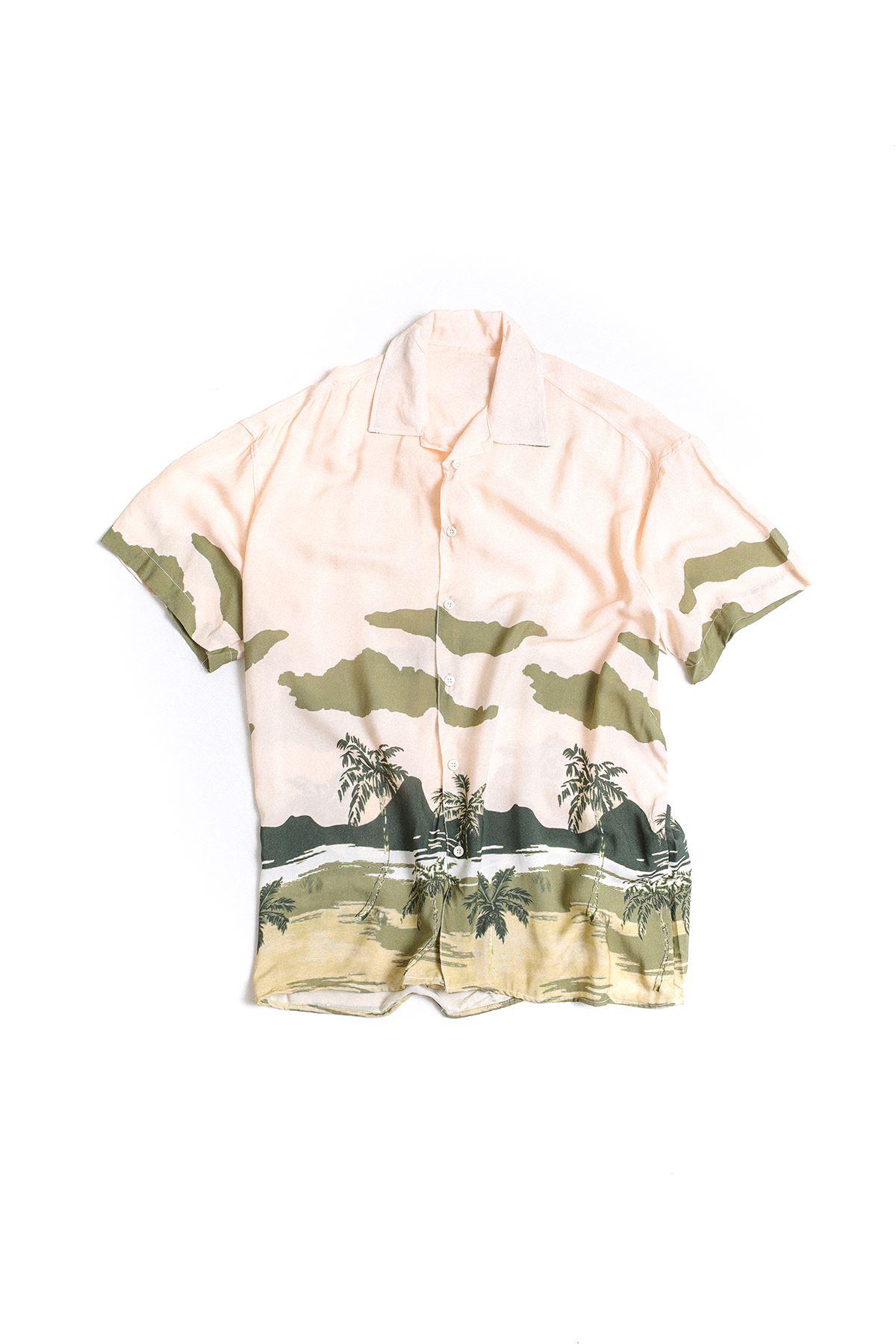 Pembe Yeşil Palmiye Desenli Transfer Baskılı Gömlek