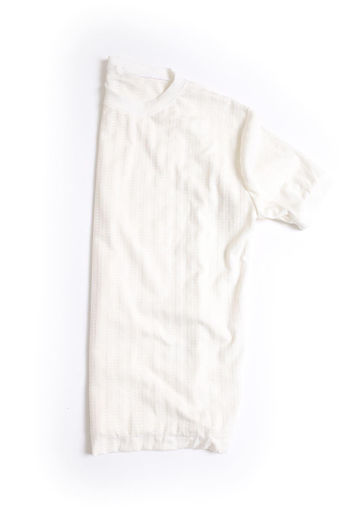 Beyaz Pamuklu Triko T-Shirt