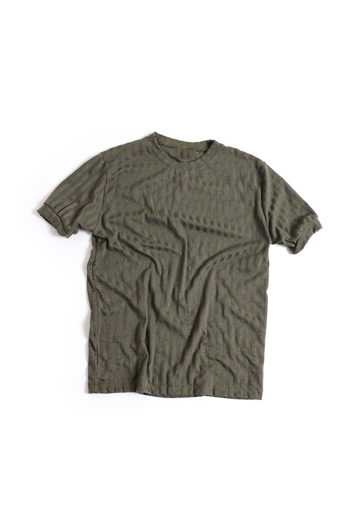 Haki Pamuklu Triko T-Shirt