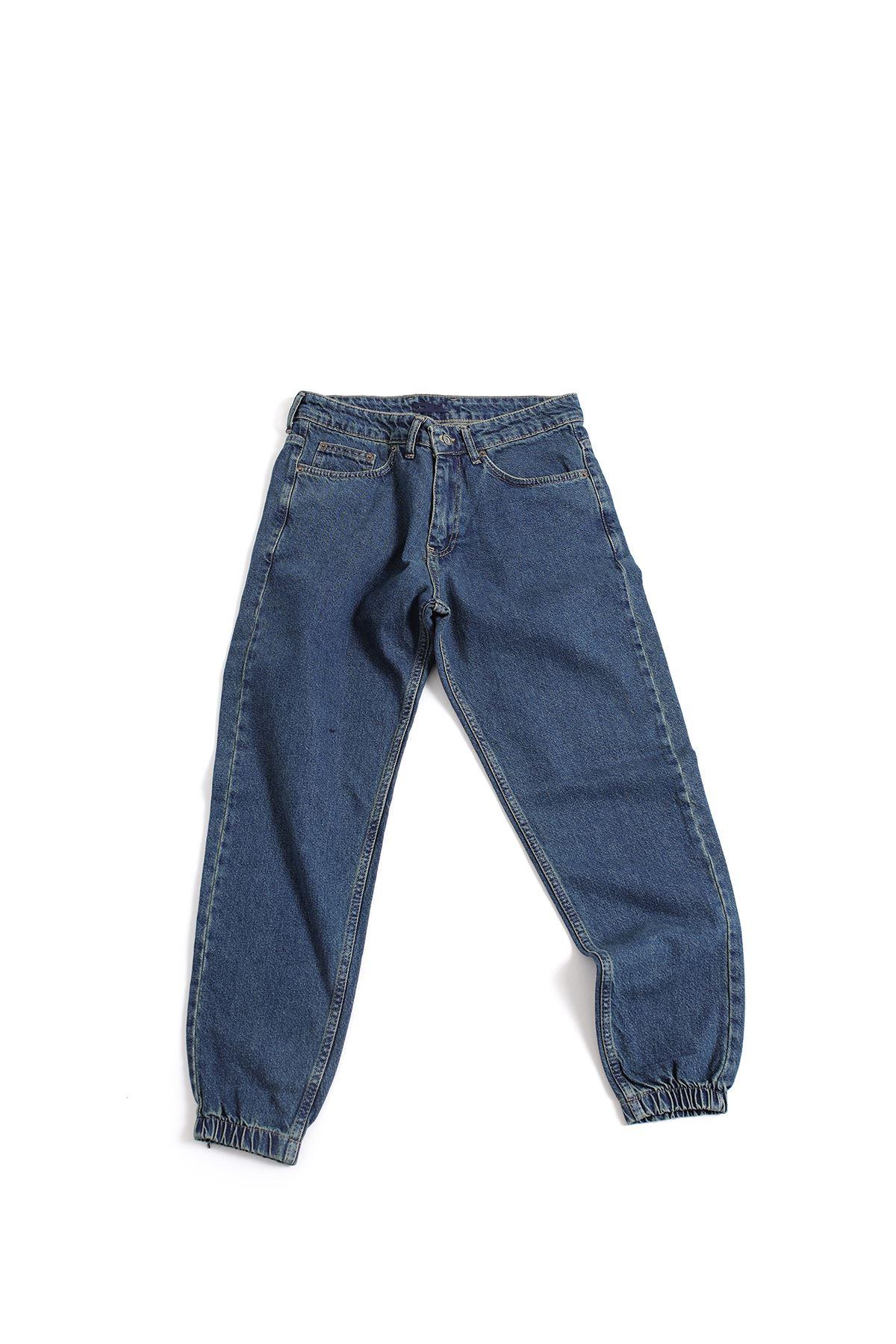 Lacivert Boyfriend Kot Pantolon