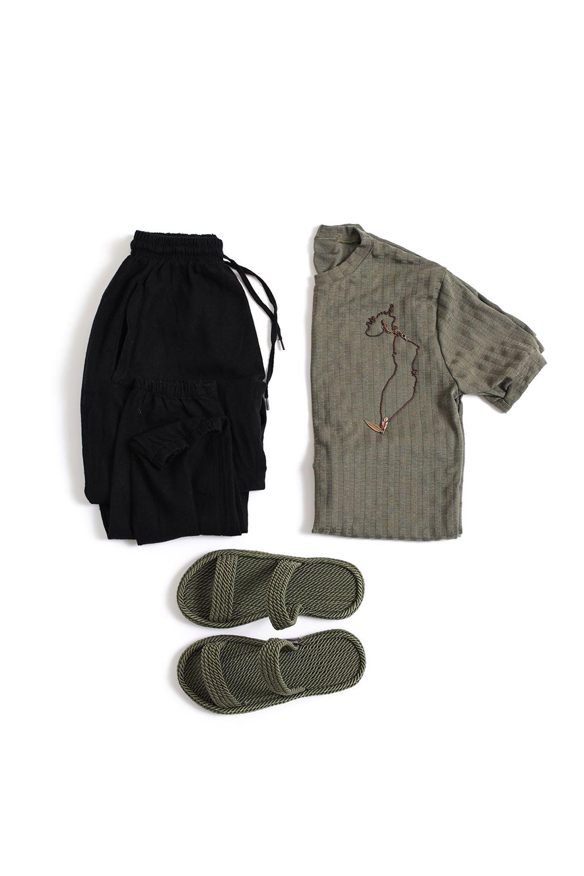 Haki Triko T-Shirt Siyah Keten Jogger Kombin