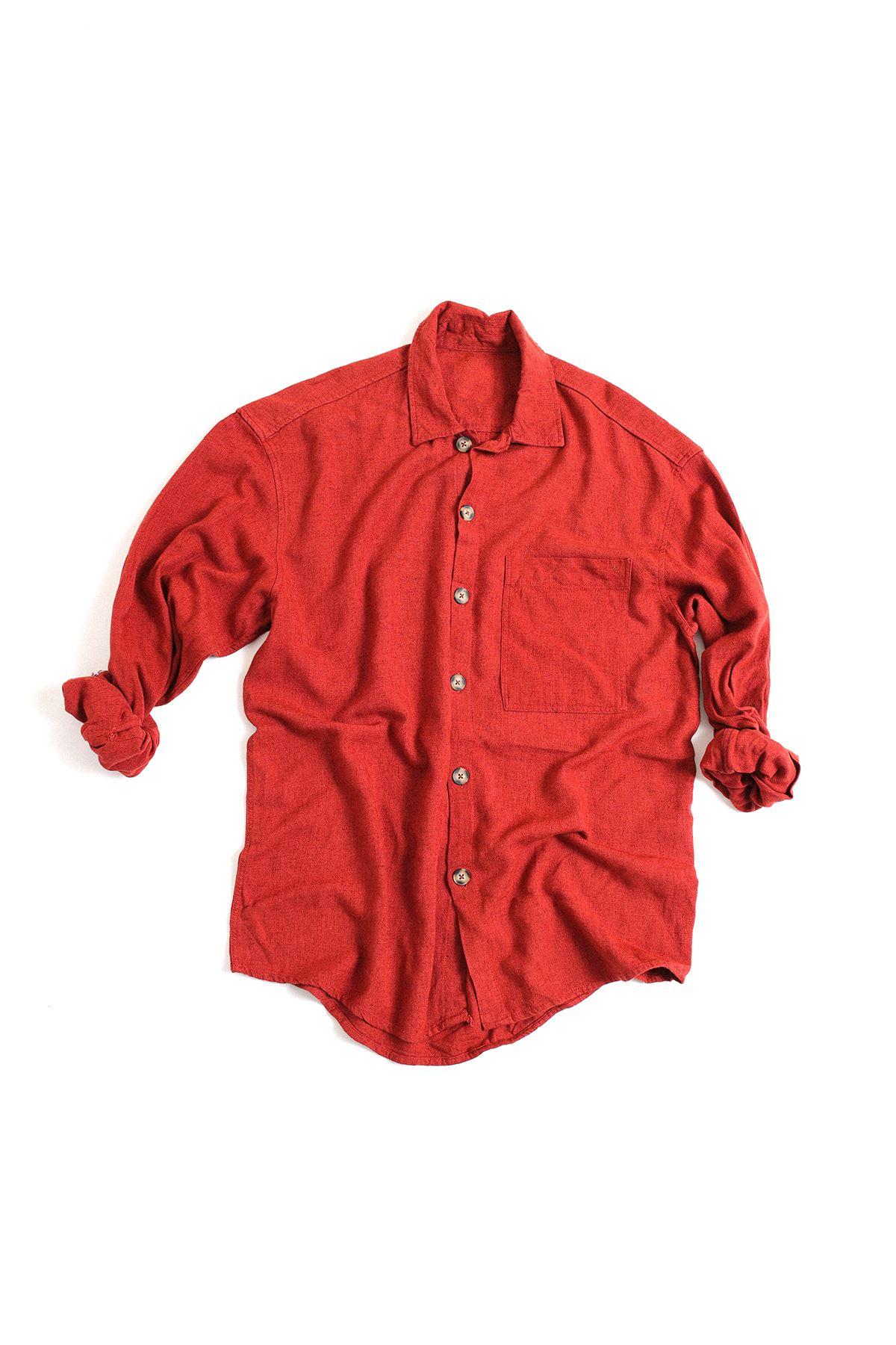 Bordo Keten Uzun Kollu Gömlek