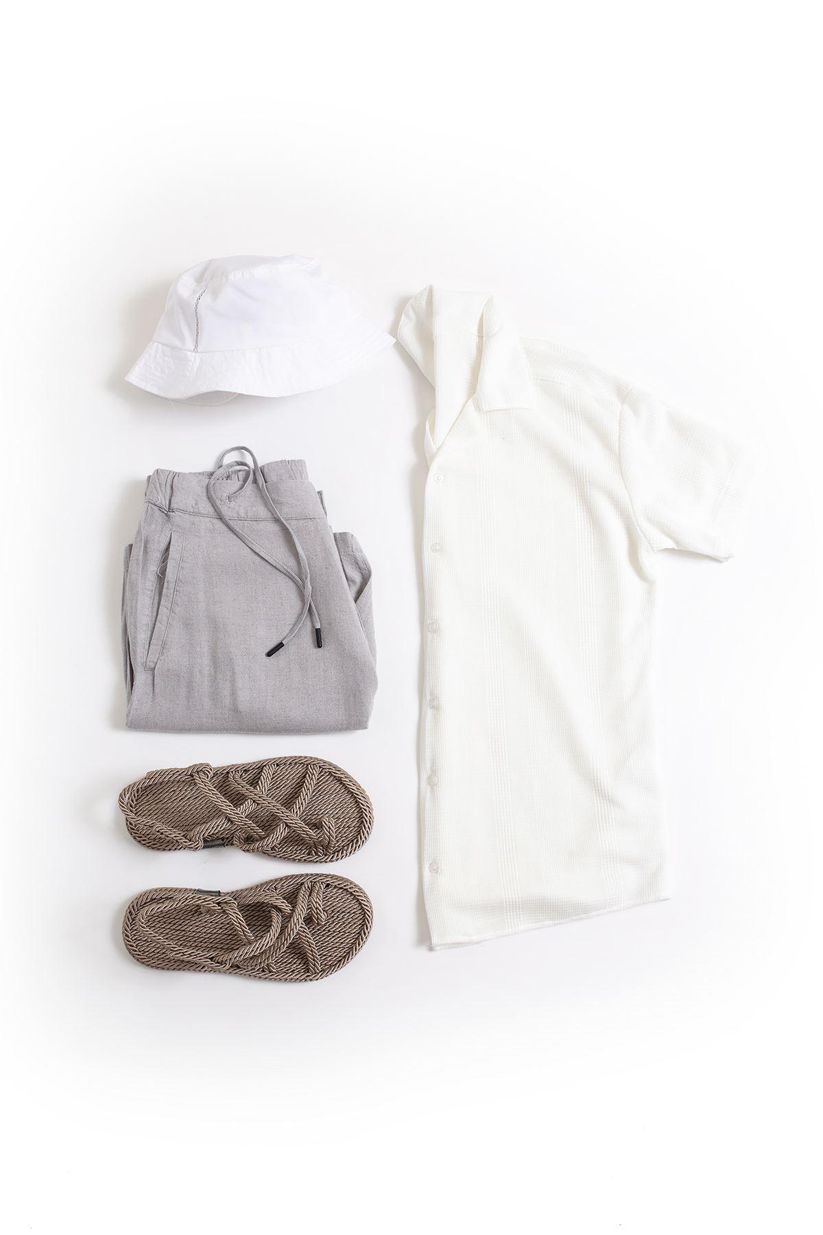 Beyaz Triko Gömlek Kombin