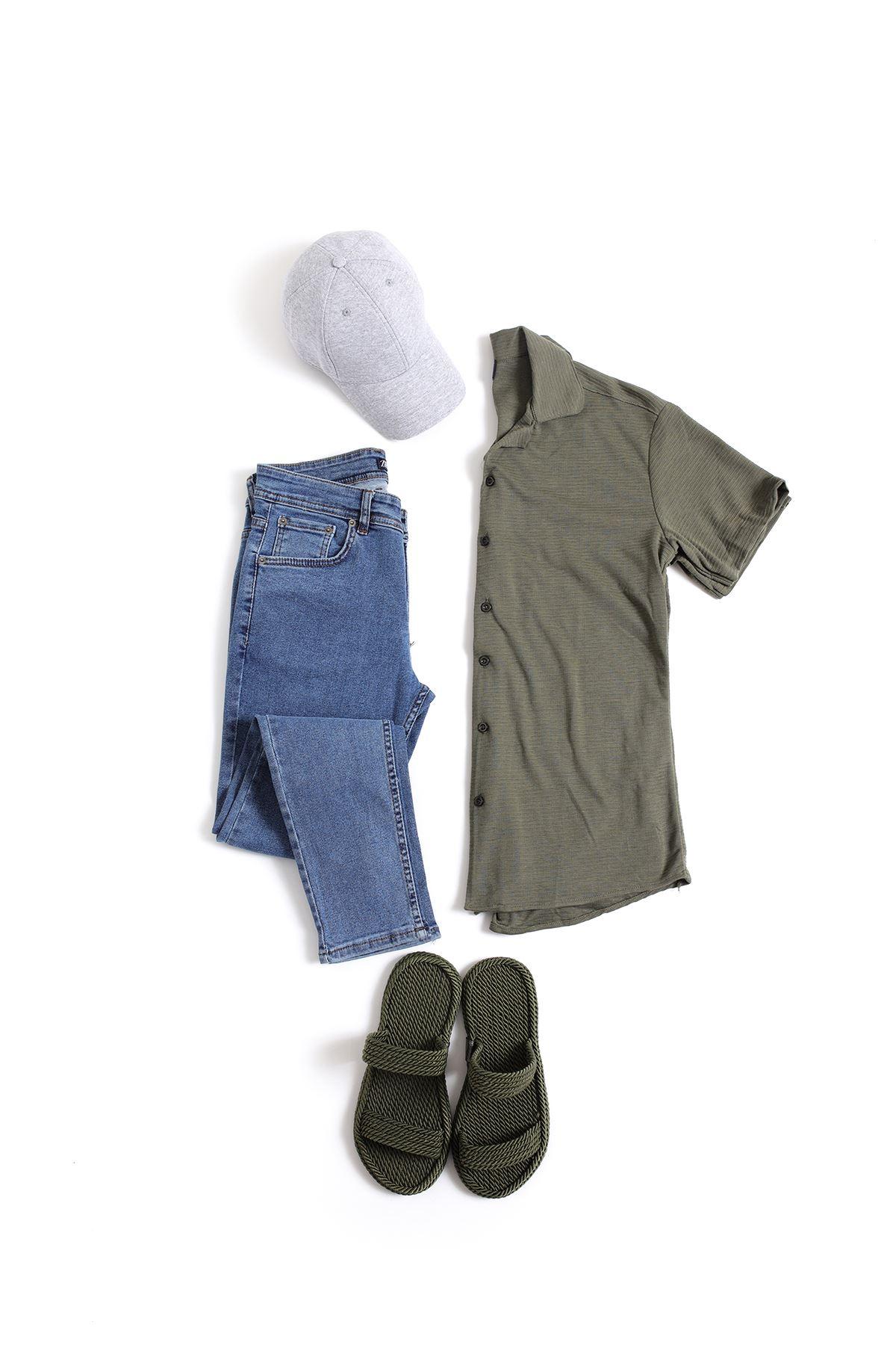 Koyu Yeşil Triko Gömlek Mavi Skinny Kot Kombin