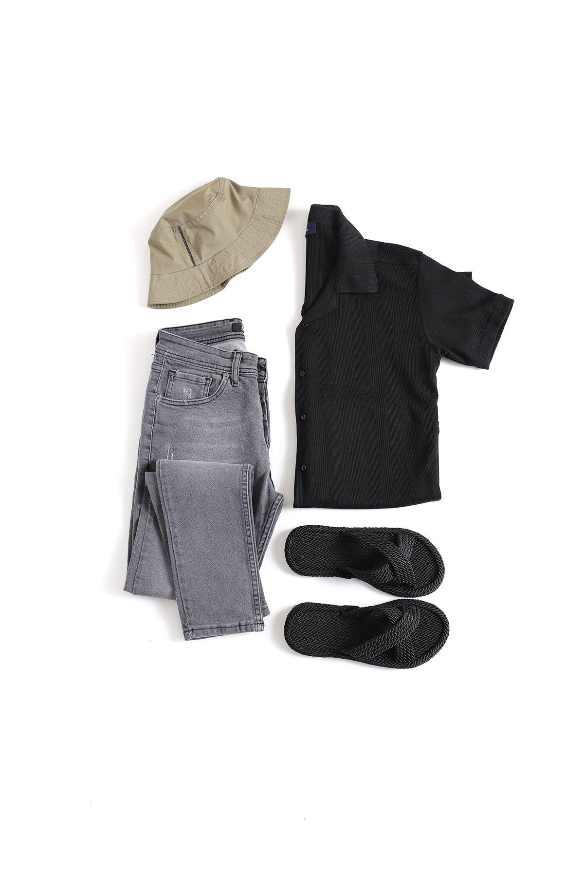 Siyah Triko Gömlek Gri Tırnaklı Skinny Kot Kombin