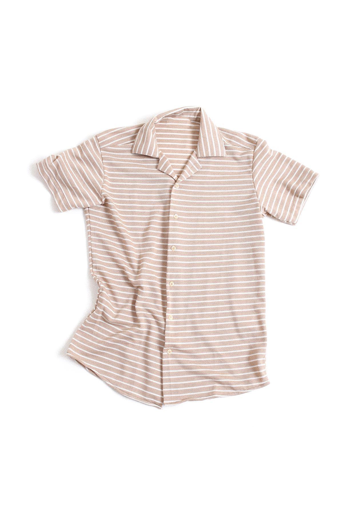 Beyaz Çizgili Bej Triko Gömlek