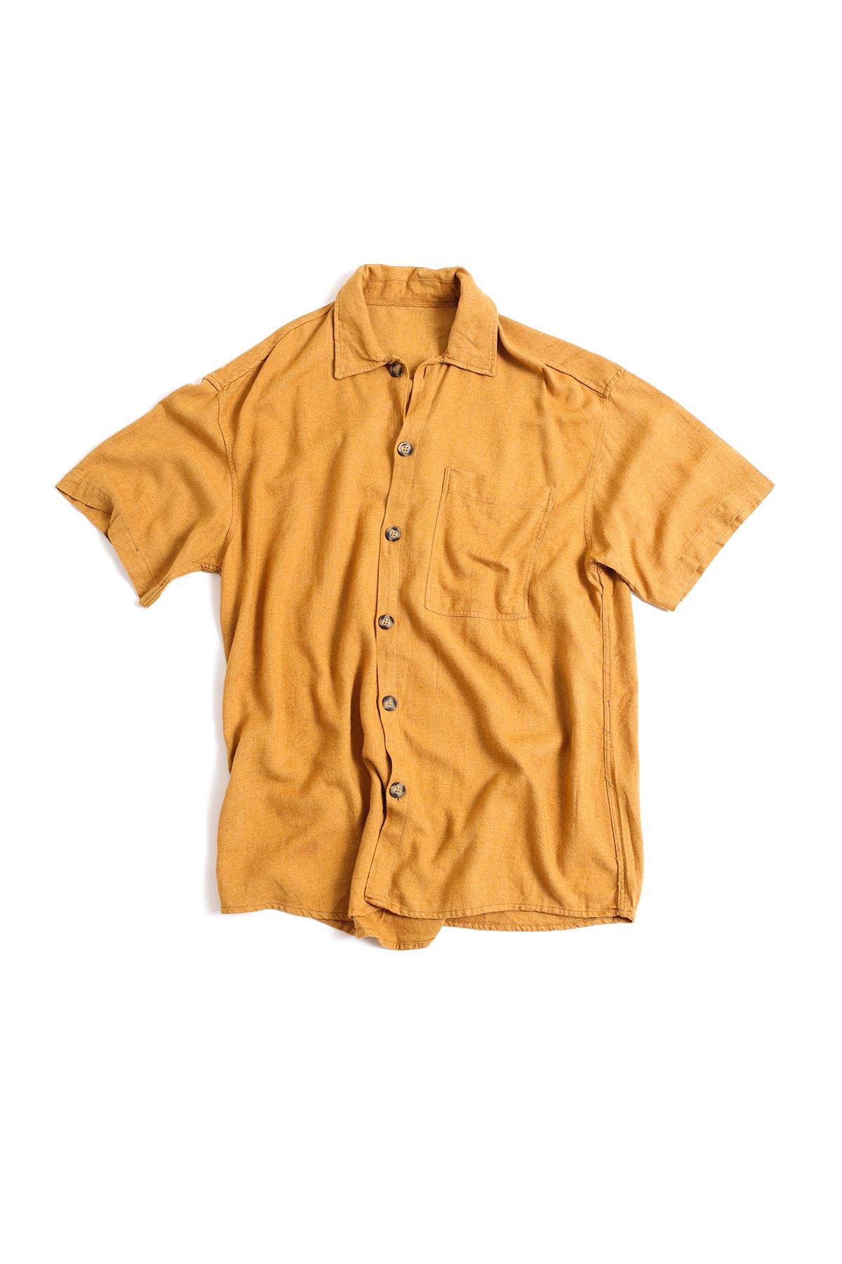 Kısa Kollu Hardal Keten Gömlek