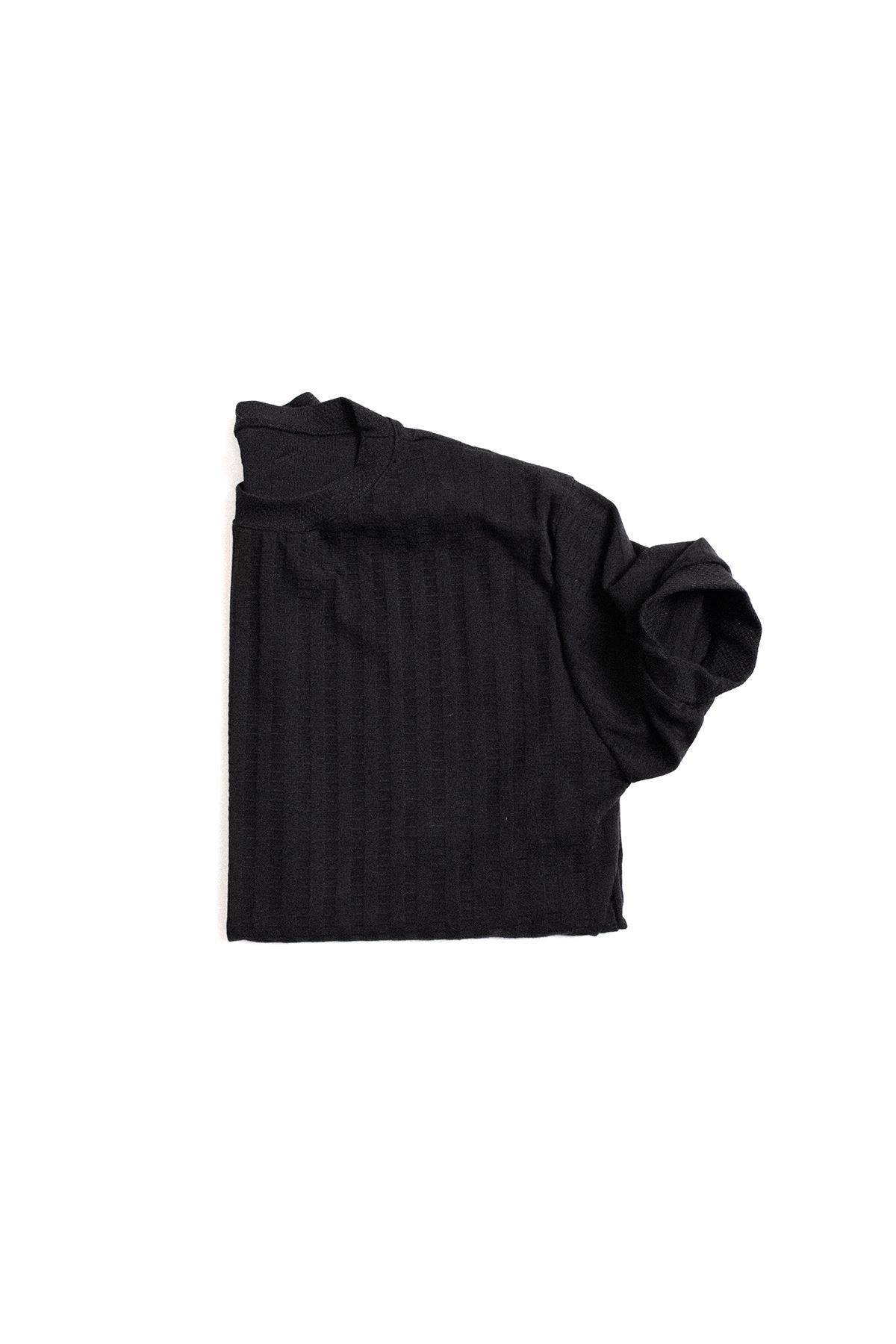 Siyah Pamuklu Triko T-Shirt