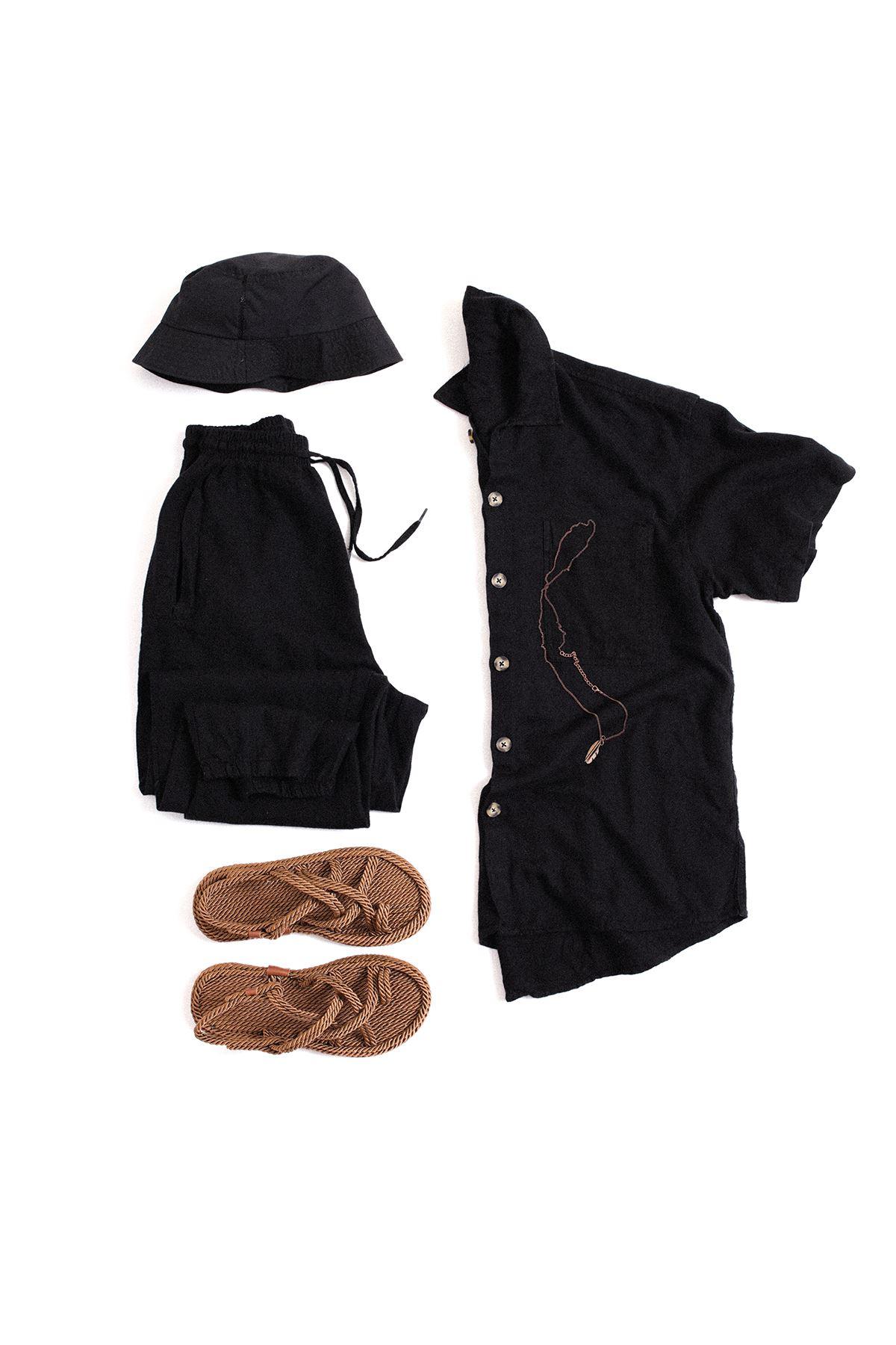 Siyah Kısa Kollu Keten Gömlek Kombin