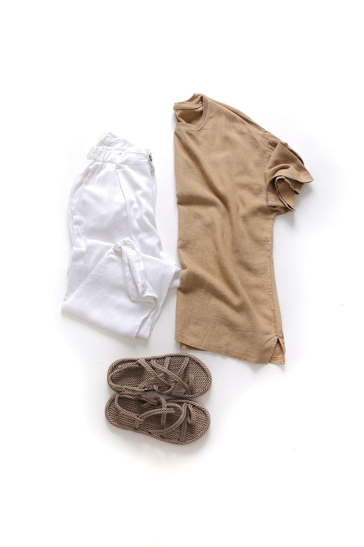 Vizon Keten T-Shirt Boru Paça Beyaz Keten Jogger Kombin