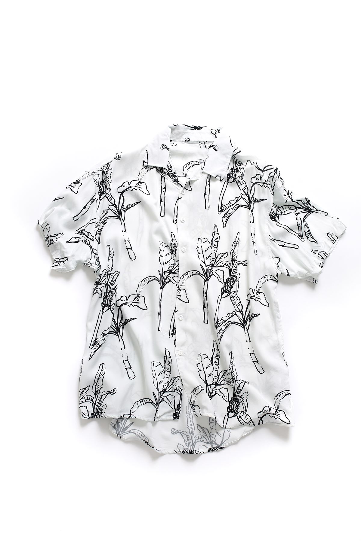 Beyaz Yaprak Desenli Transfer Baskılı Gömlek