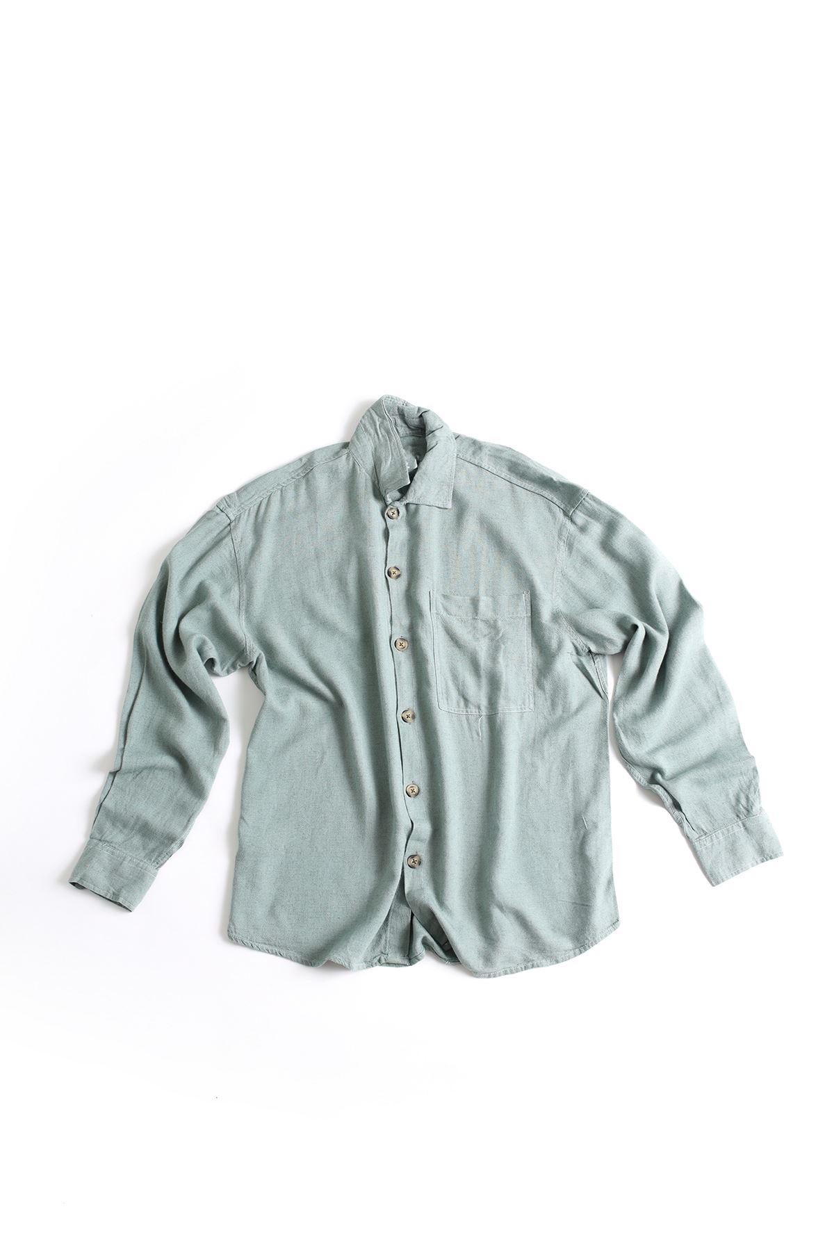Uzun Kollu Deniz Yeşili Keten Gömlek