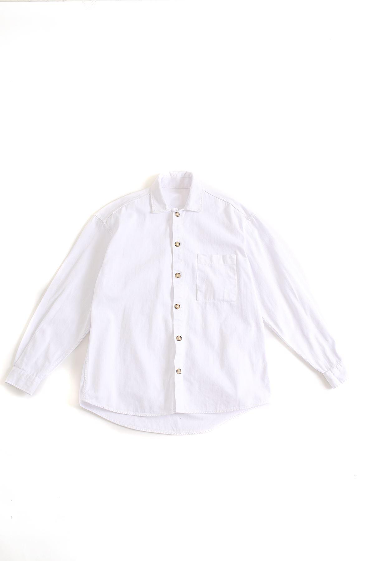Beyaz Kalın Keten Gömlek
