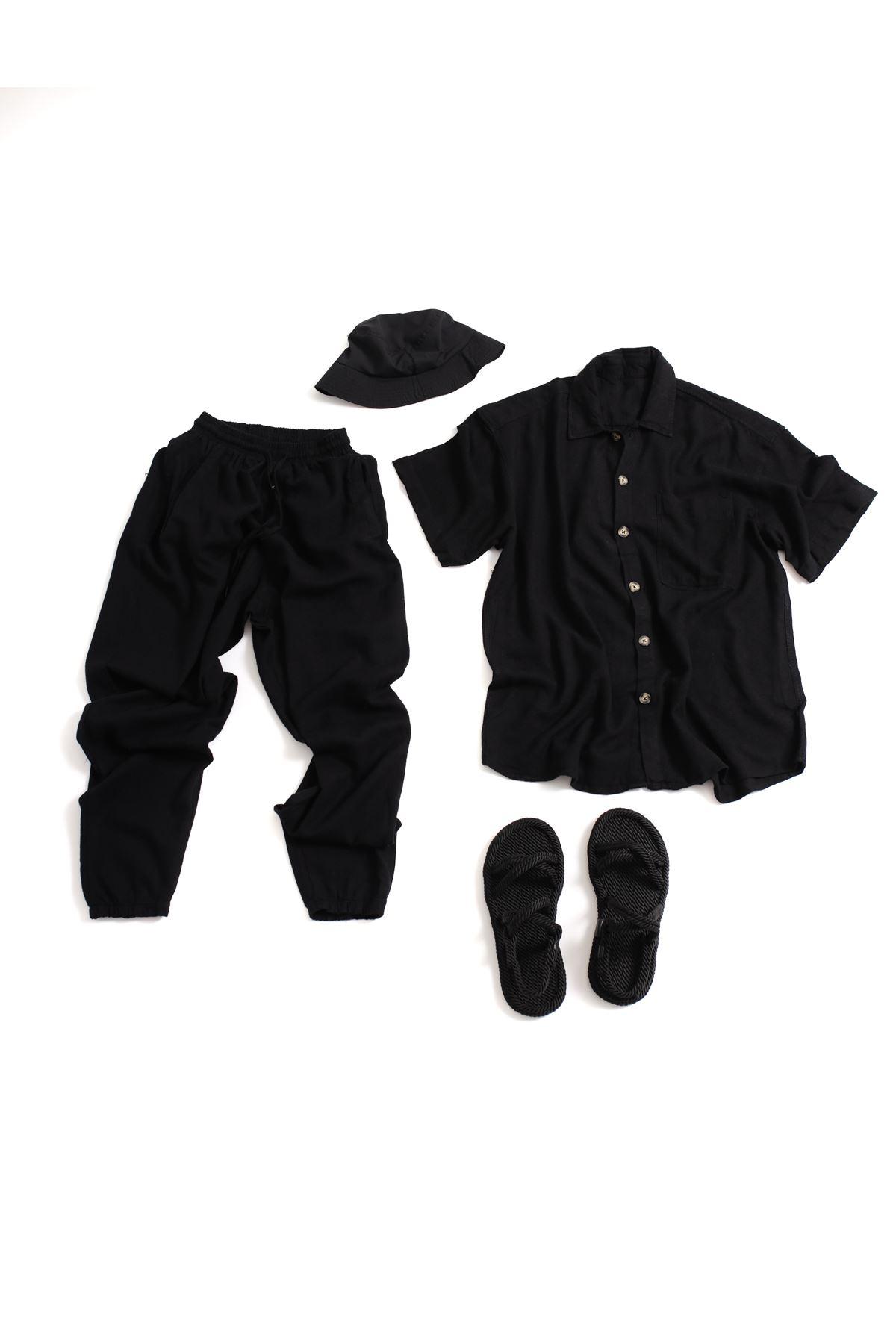 Siyah Keten Gömlek Jogger Blackman Kombin