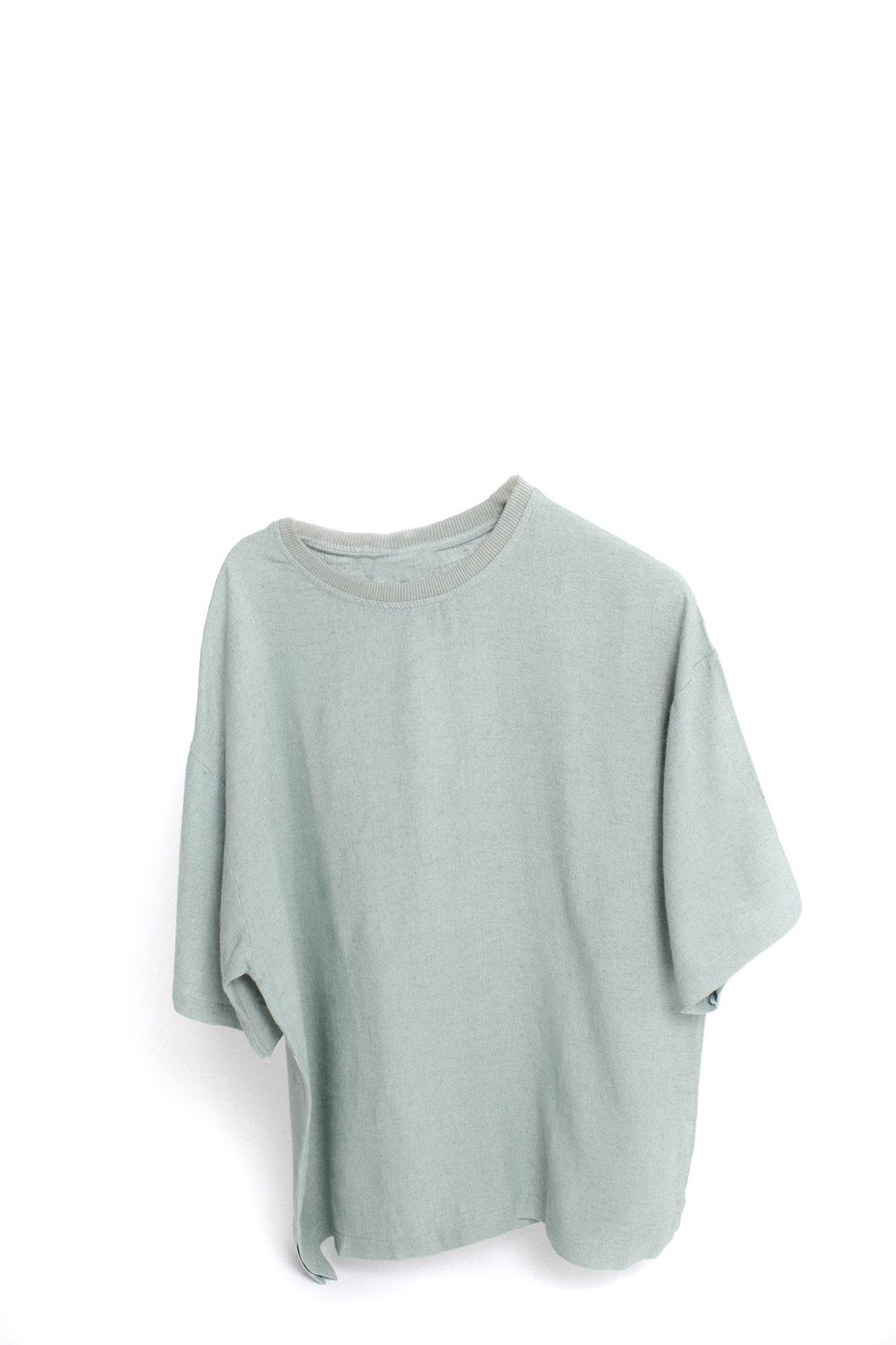 Deniz Yeşili Oversize Keten T-Shirt