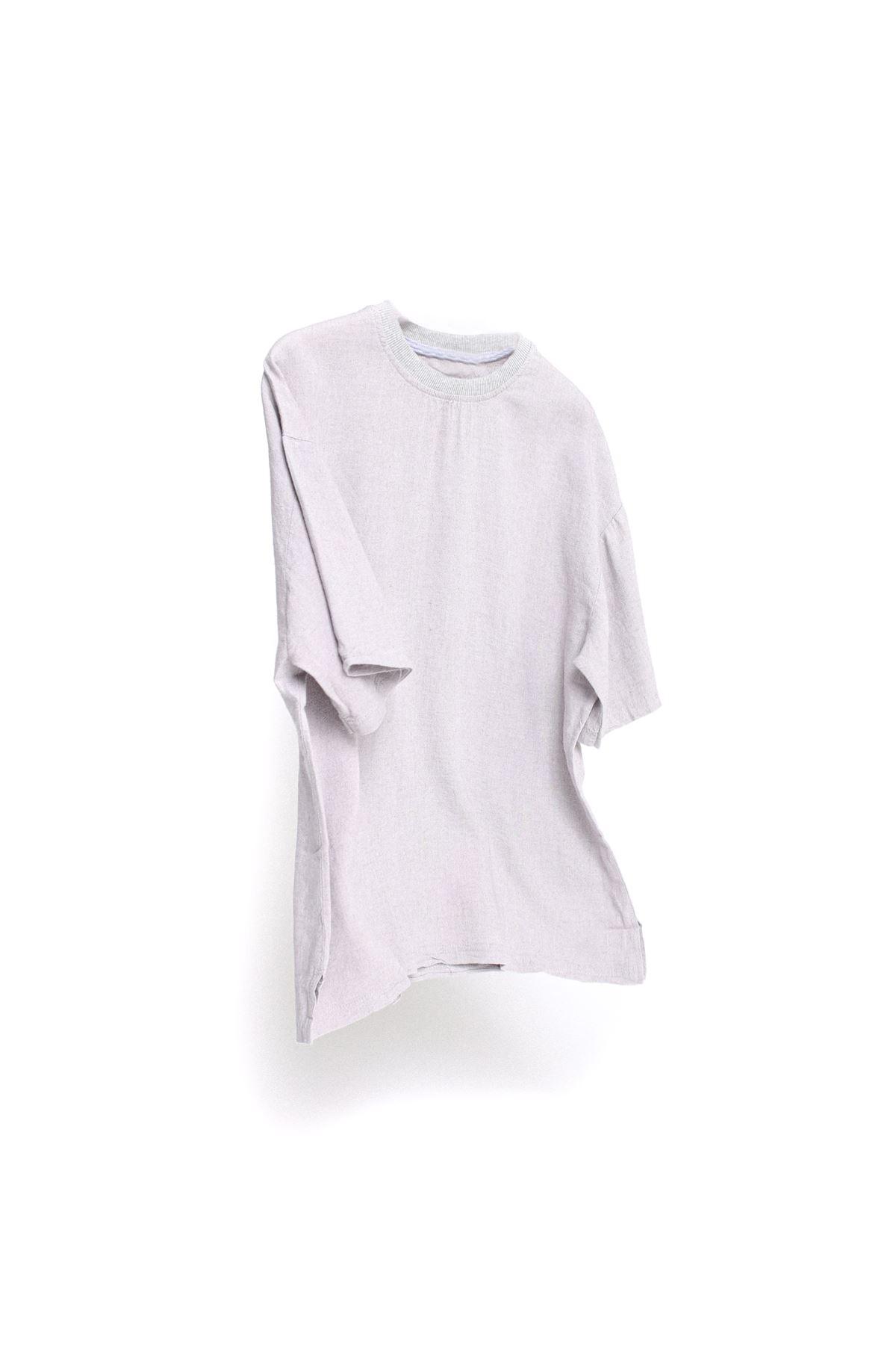 Gri Keten T-Shirt Boru Paça Vizon Keten Jogger Kombin