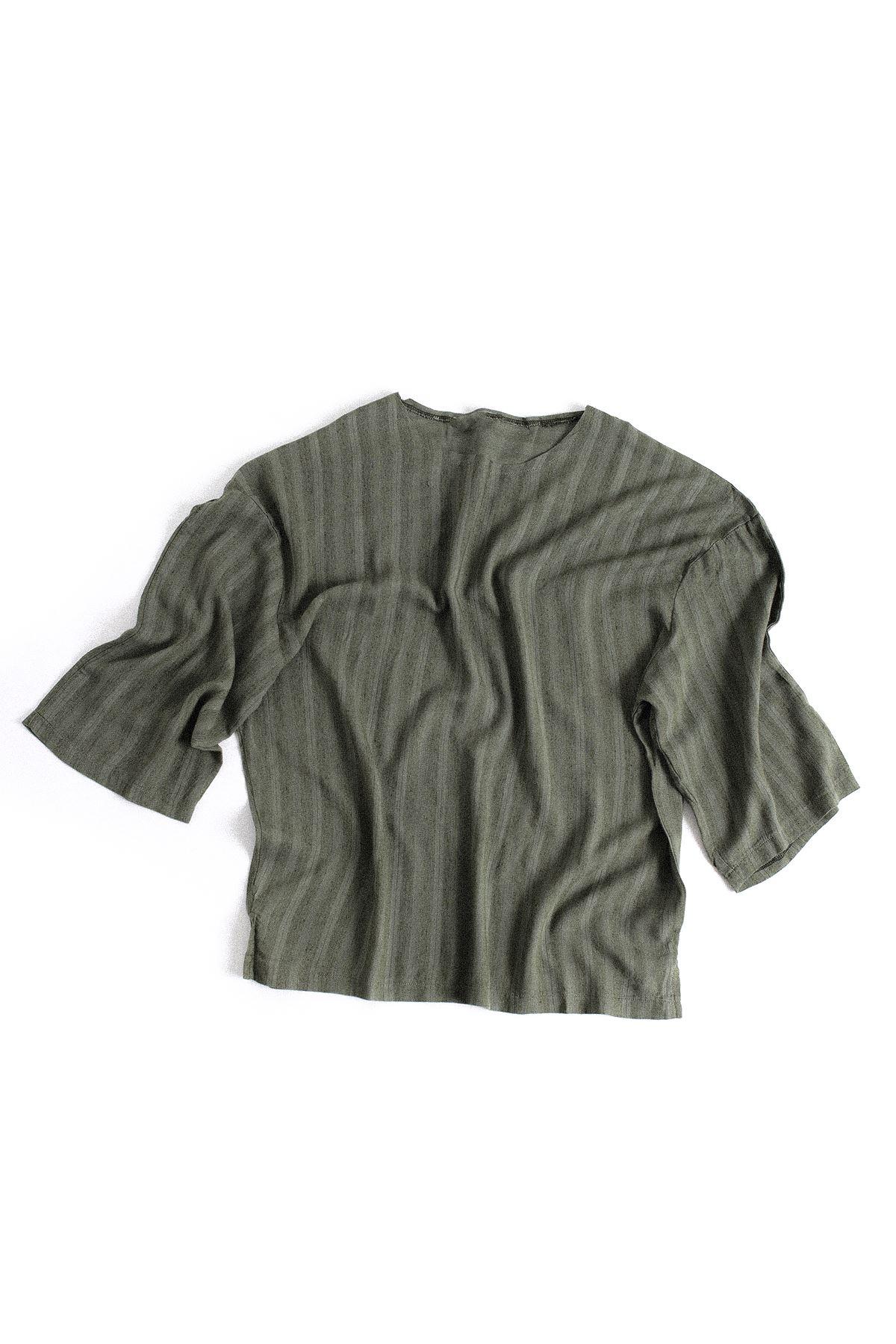 Haki Fakir Kol Oversize Viskon Keten T-Shirt