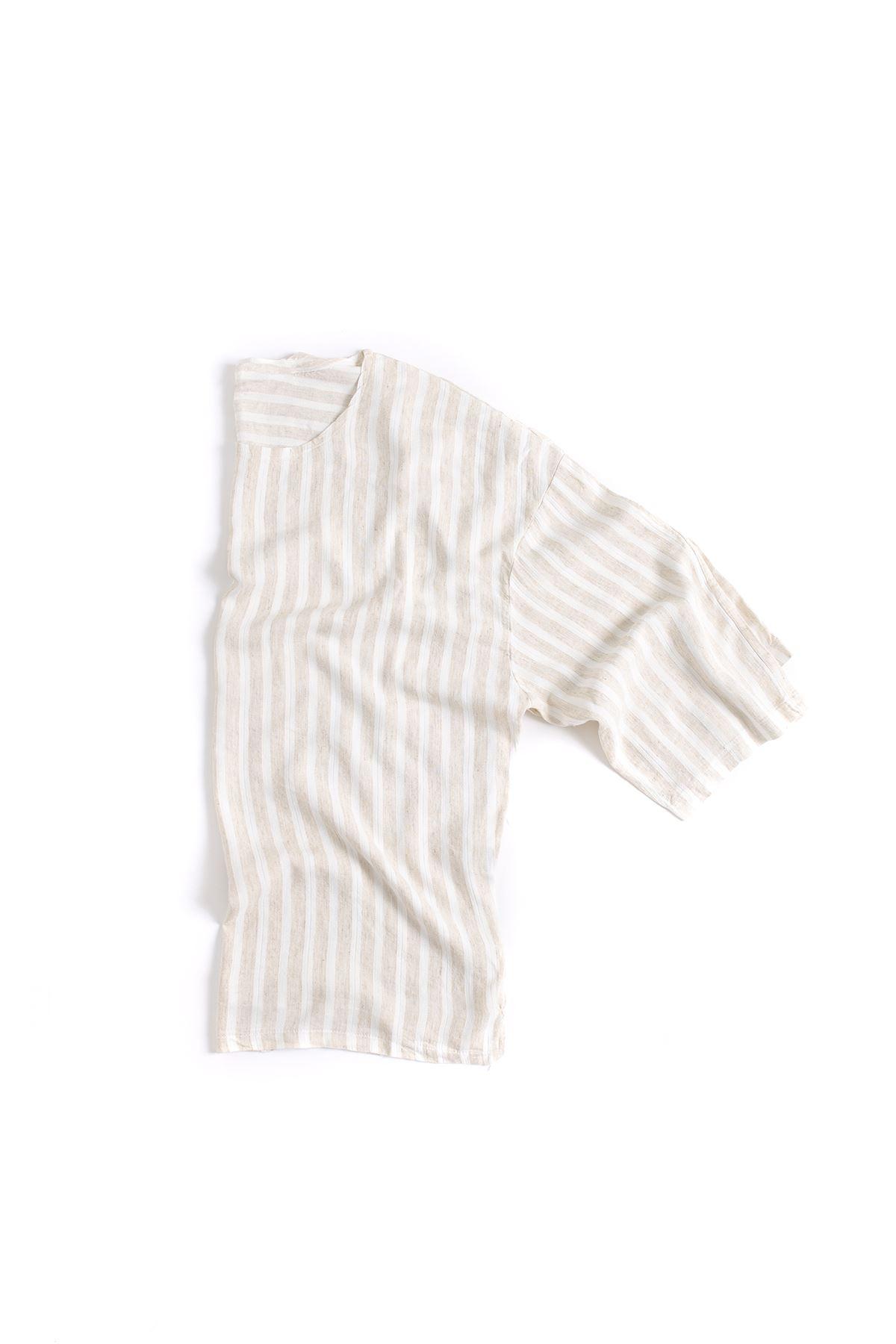 Beyaz Çizgili Bej Fakir Kol Oversize Viskon Keten T-Shirt