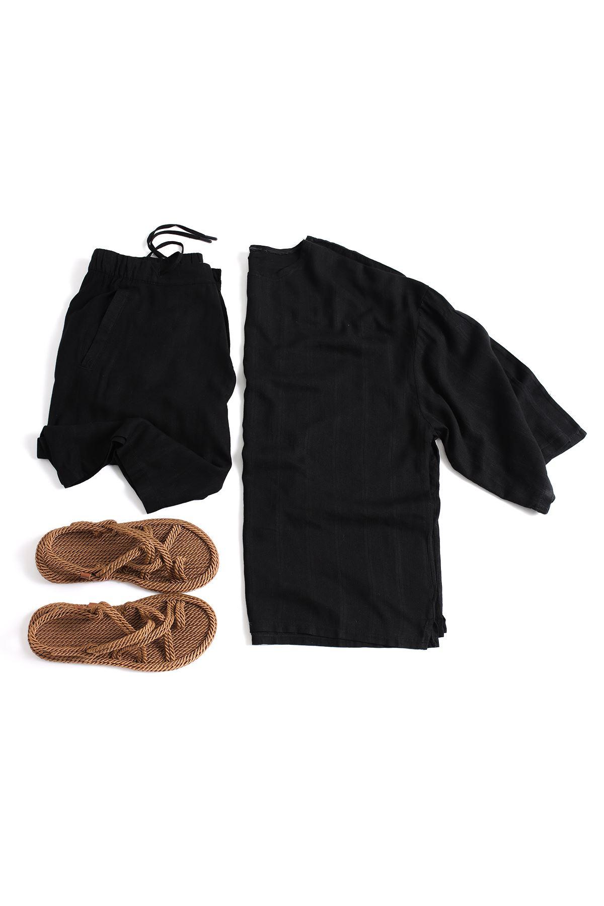 Siyah Viskon Keten Kombin