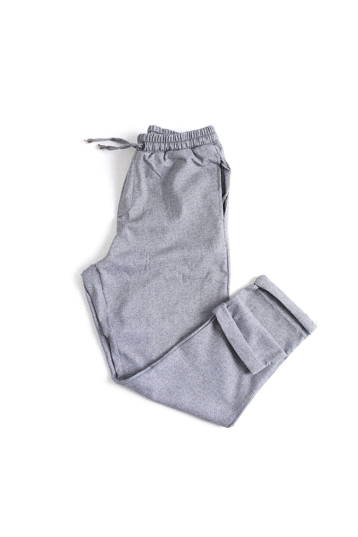 Düz Paça Gri Klasik Jogger Pantolon
