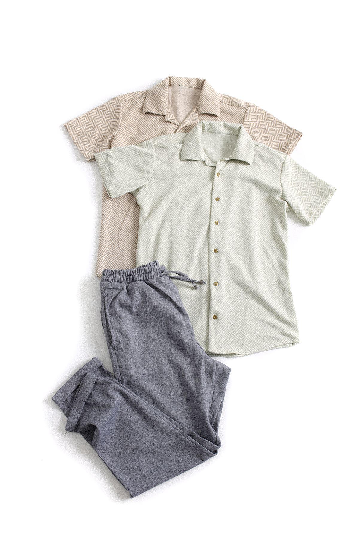 Yeşil Beyaz ve Kahve Beyaz Triko Gömlek Gri Jogger Kombin