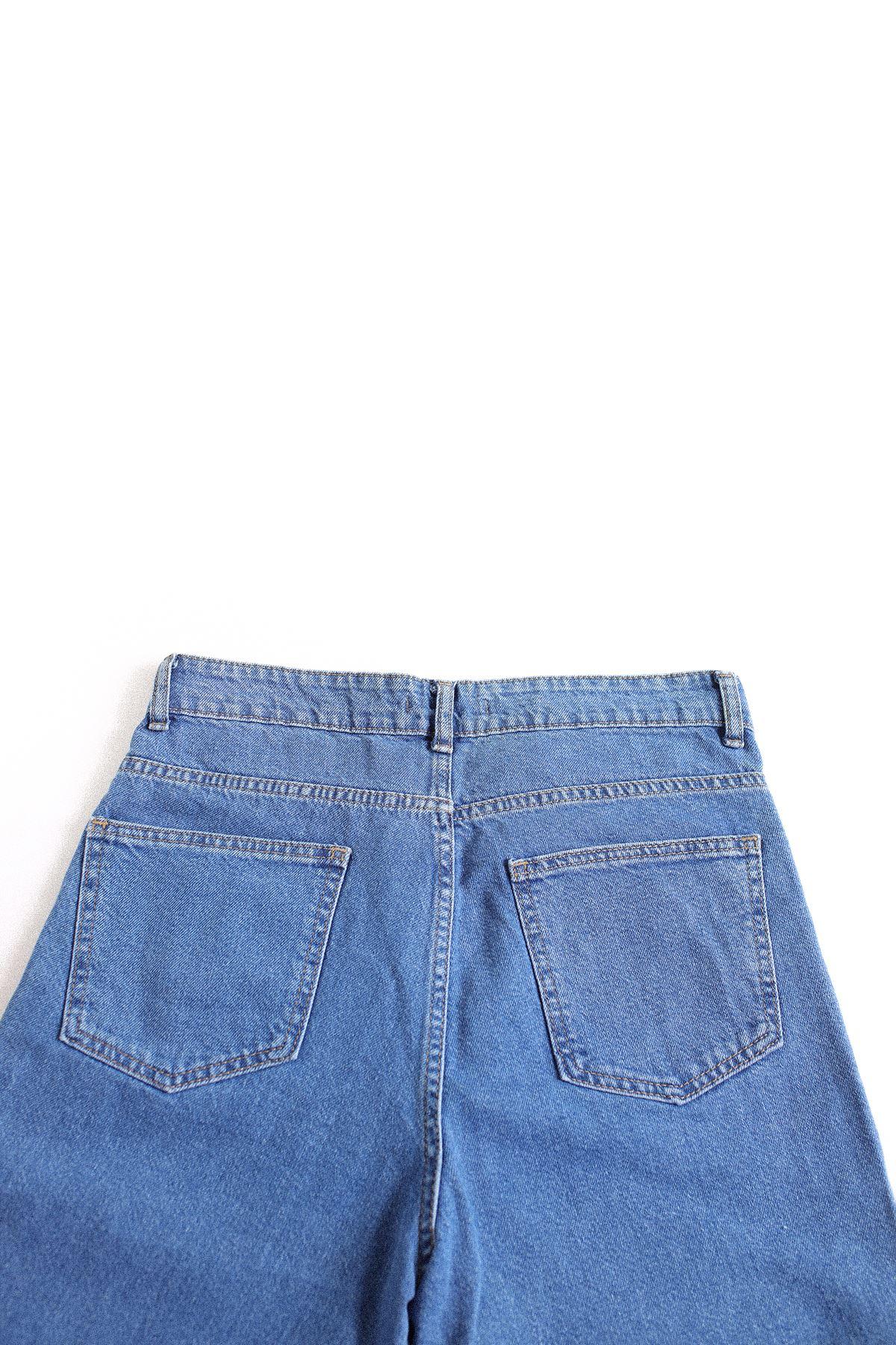 Mavi Lastiksiz Paça Boyfriend Kot Pantolon