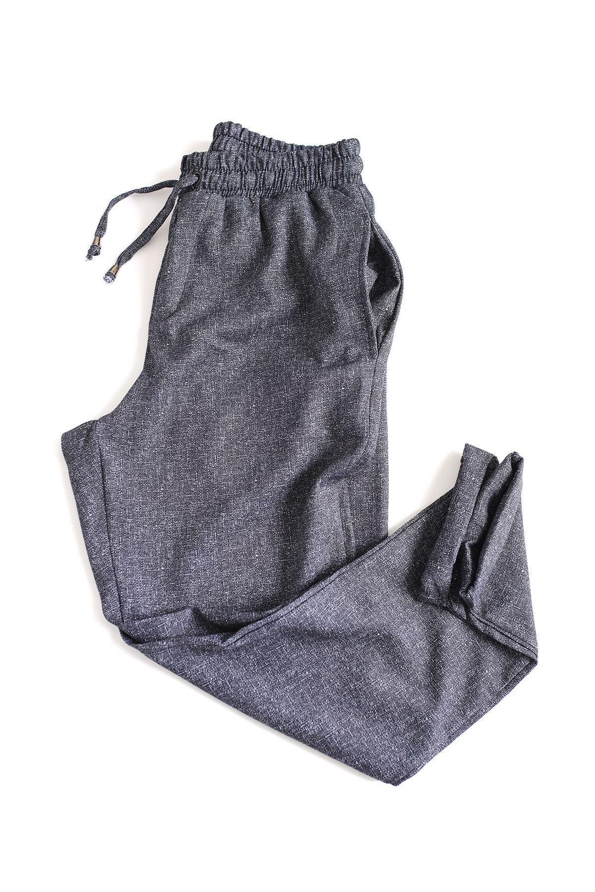 Düz Paça Mavi Klasik Jogger Pantolon