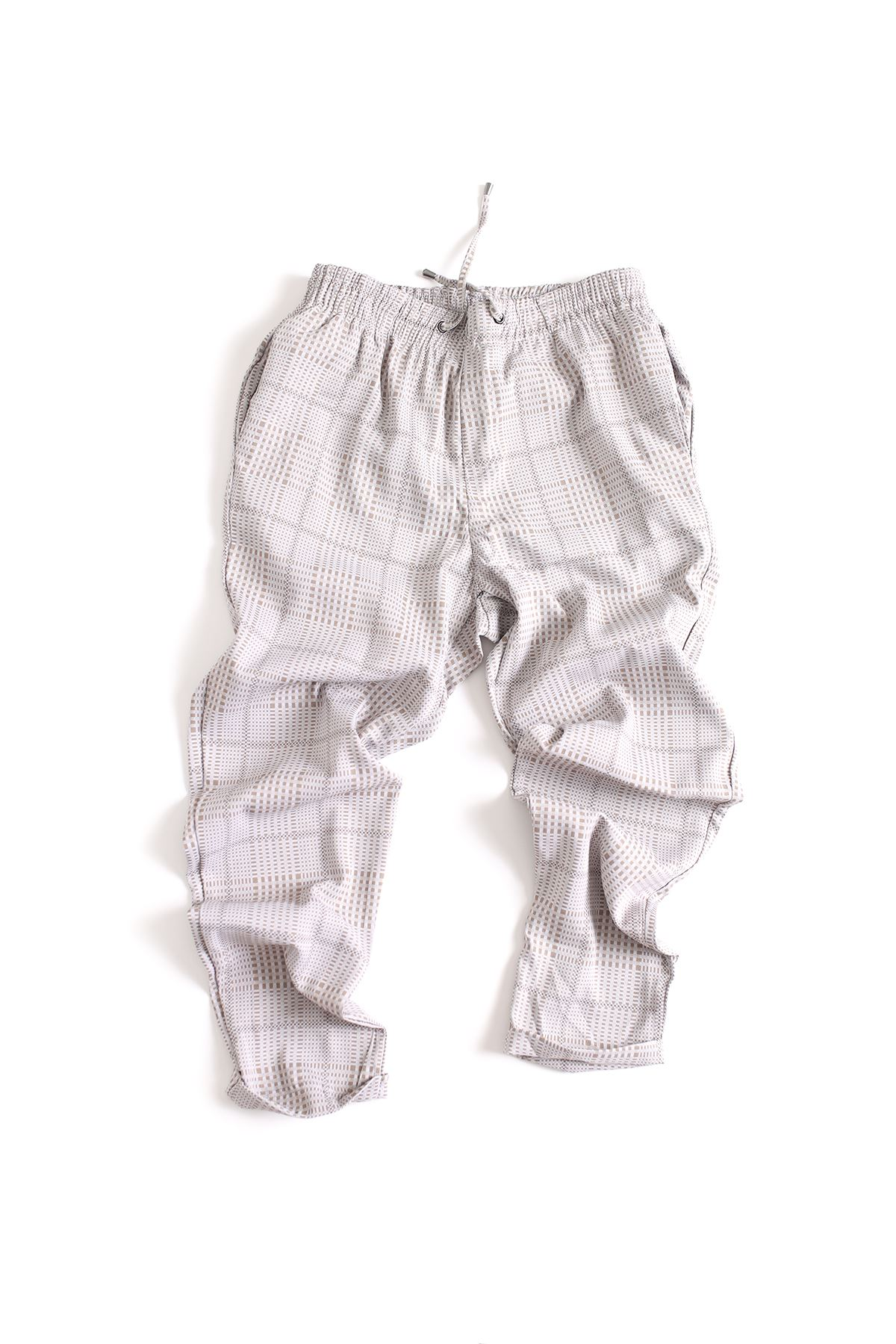 Düz Paça Kareli Bej Klasik Jogger Pantolon