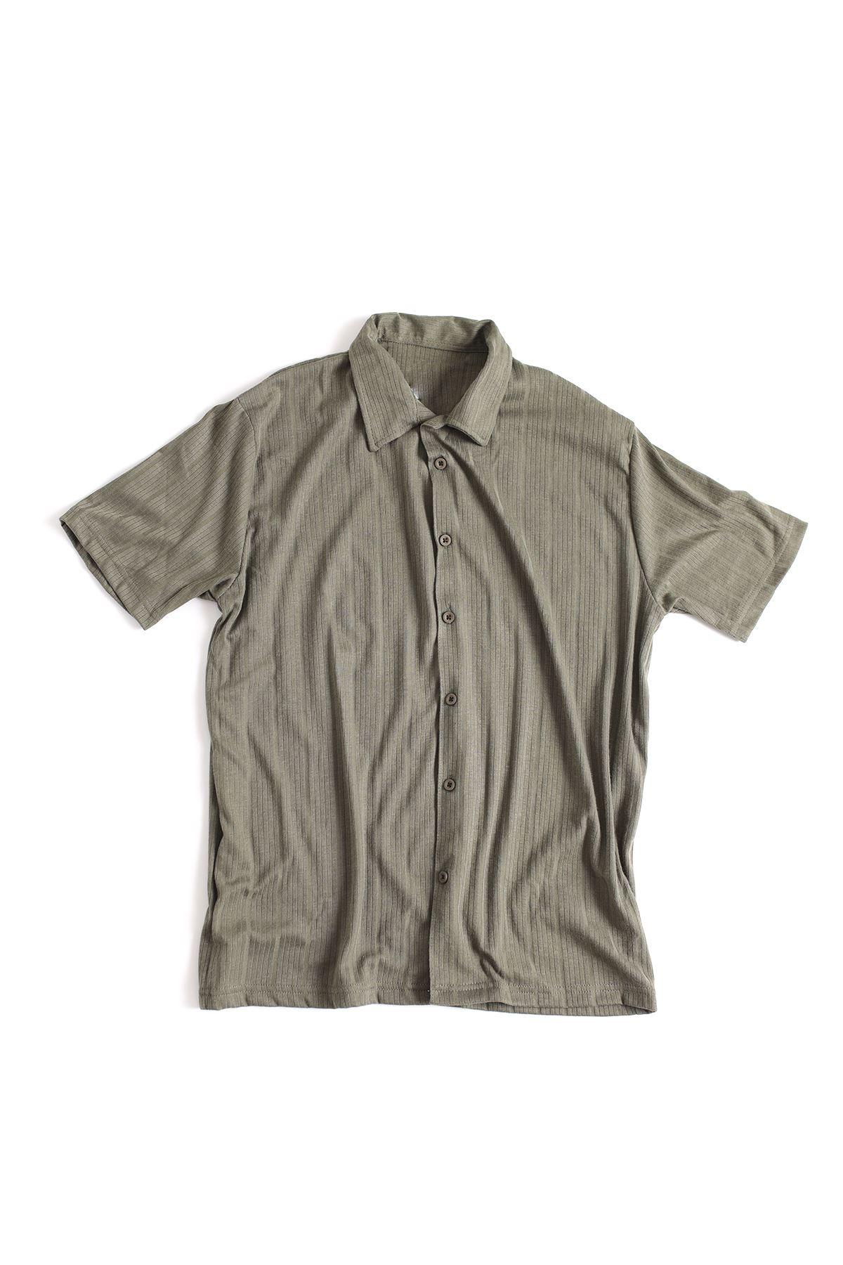 Koyu Yeşil Regular Pamuklu Triko Gömlek