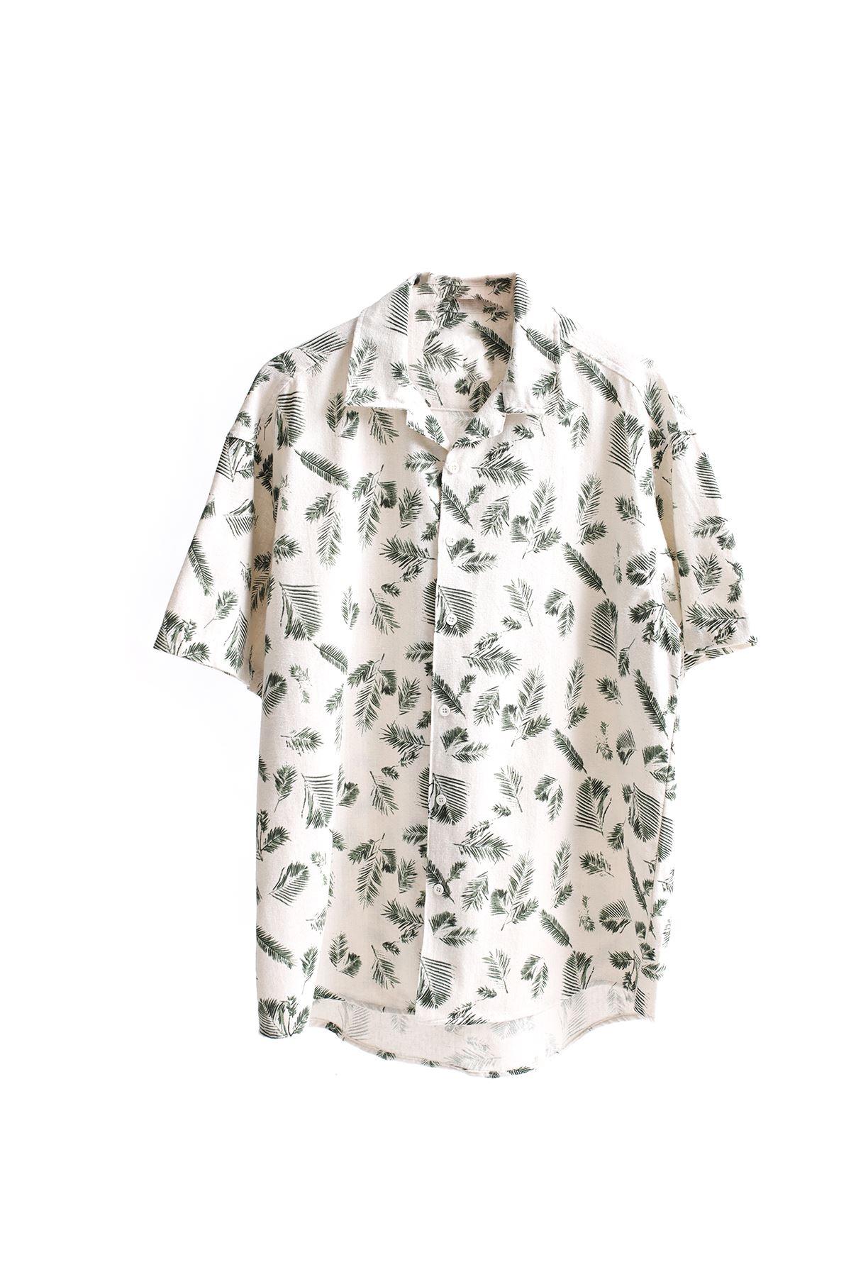 Yeşil Palmiyeli Keten Gömlek