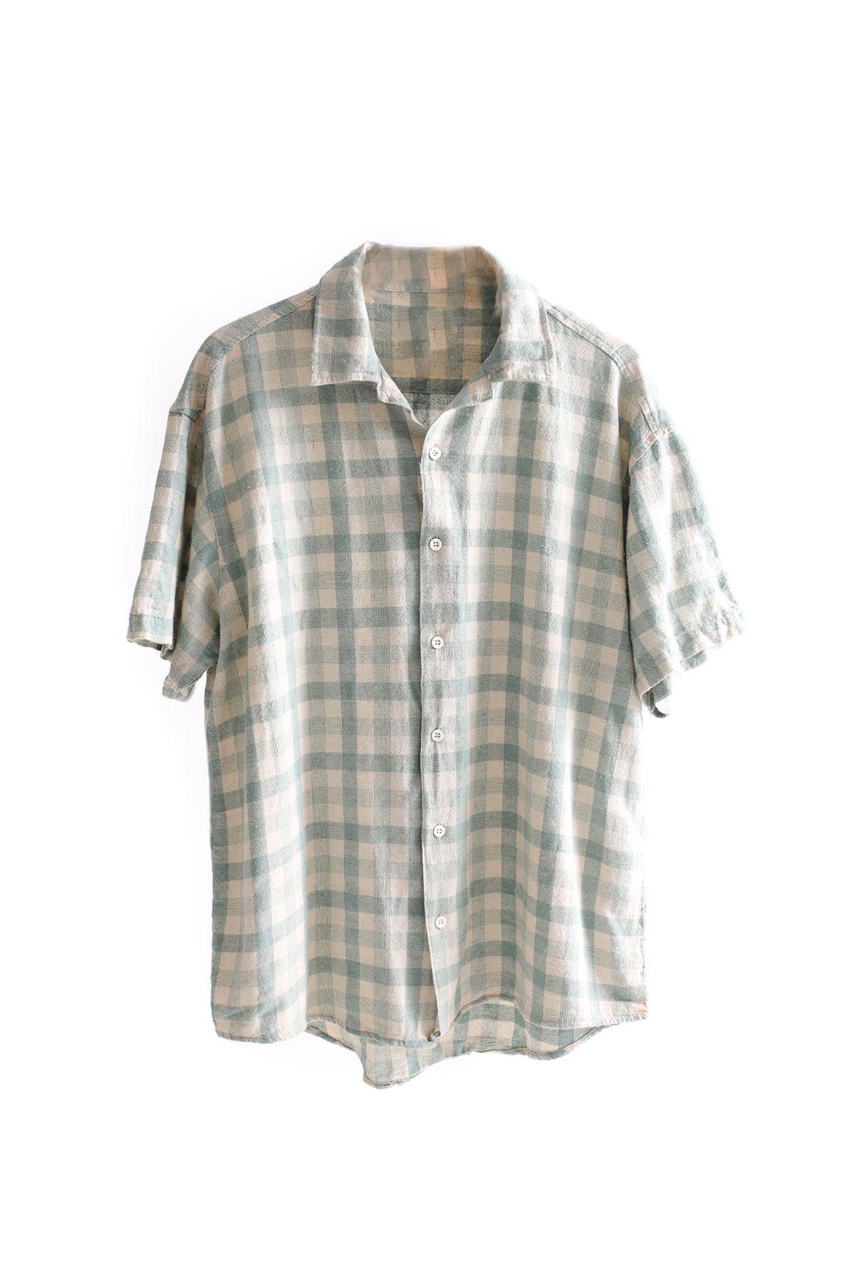 Yeşil Kareli Keten Gömlek