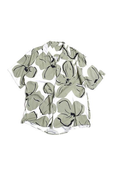 Yeşil Çiçek Desenli Gömlek