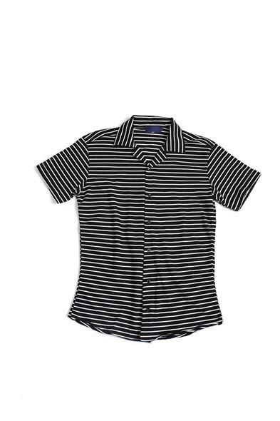 Beyaz Çizgili Siyah Triko Gömlek
