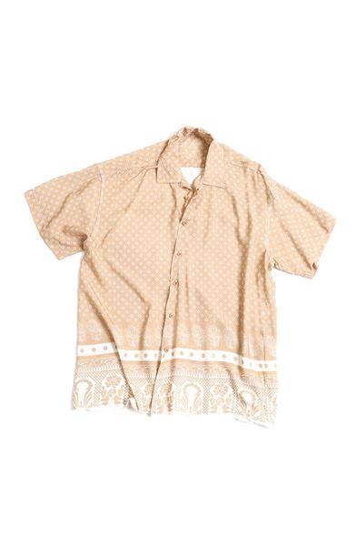 Bej Kare Desenli Transfer Baskılı Gömlek