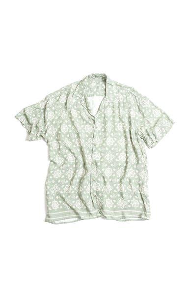 Yeşil Transfer Baskılı Desenli Gömlek