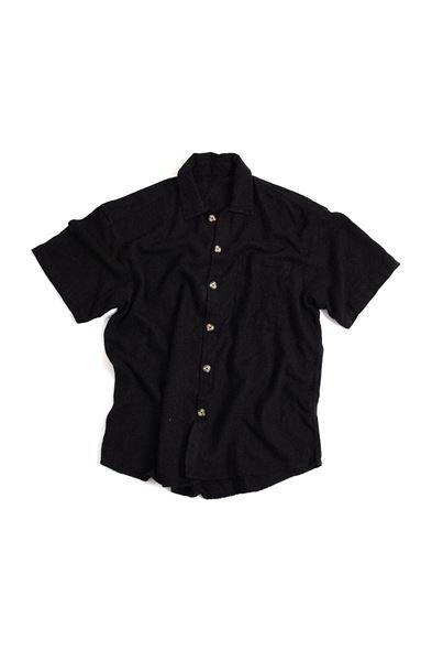Kısa Kollu Siyah Keten Gömlek