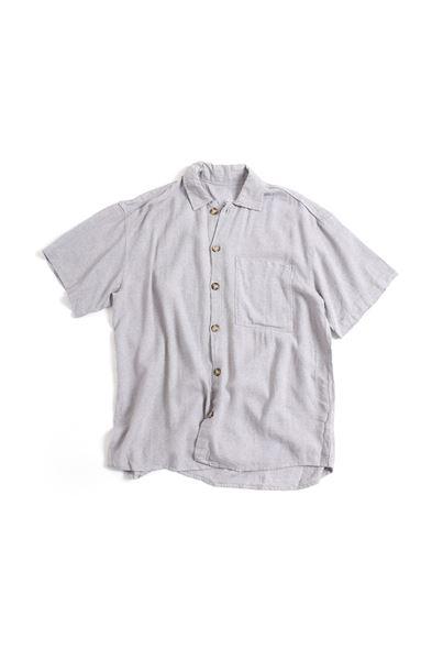 Kısa Kollu Gri Keten Gömlek