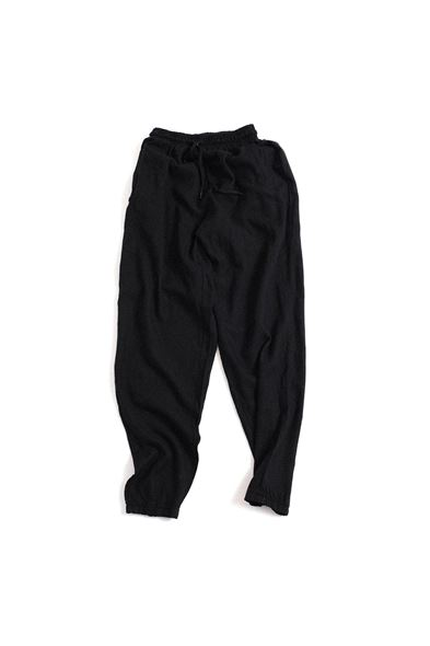 Siyah Keten Jogger Pantolon
